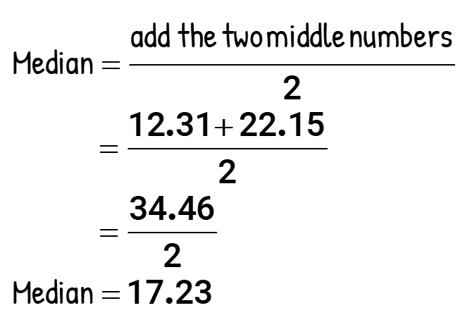 Median = add the two middle numbers/2 = (12.31+22.15)/2 = 34.46/2 = 17.23. Median = 17.23.