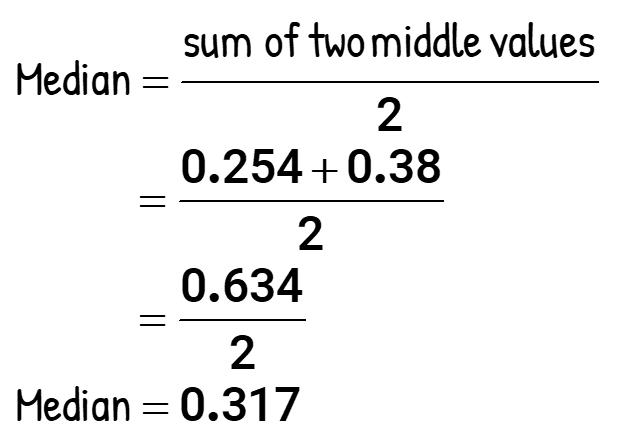 Median = sum of two middle values/2 = (0.254+0.38)/2 = 0.634/2 = 0.317.