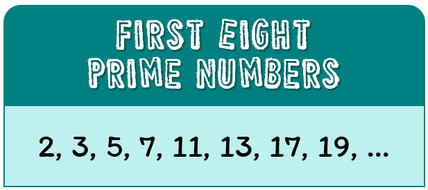 the first eight prime numbers are 2, 3, 5, 7, 11, 13, 17, 19, ...