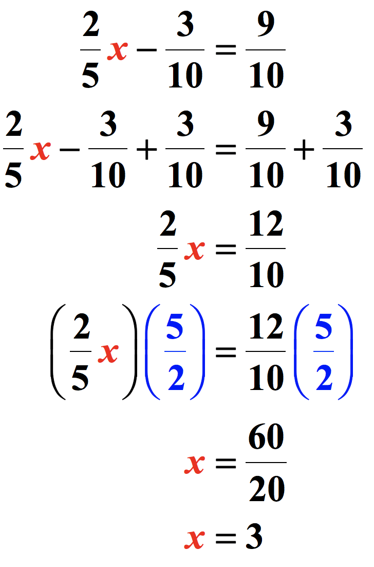here's the complete solution to the two step equation (2/5)x-(3/10)=9/10. solving the equation, we get (2/5)x-(3/10)=9/10 → (2/3)x-(3/10)+(3/10)=(9/10)+(3/10) → (2/5)x=12/10 → x=60/20 → x=3