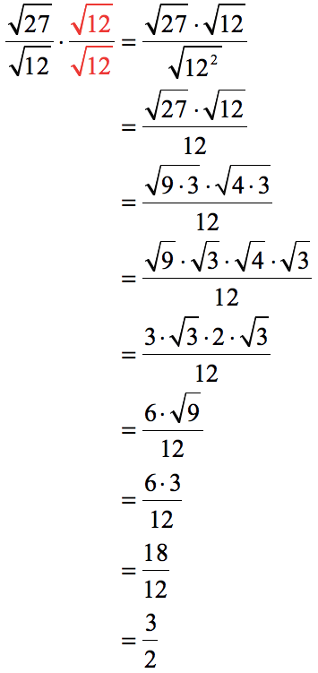 sqrt(27)/sqrt(12)=3/2