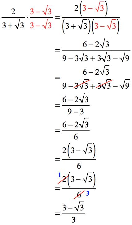 2/{3+[sqrt(3)]} = {3- [sqrt(3)]}/3