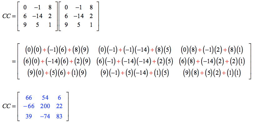 The product of matrices C and C is a 3 by 3 matrix with elements 66, 54, and 6 on the first row; -66, 200, and 22 on the second row, and 39, -74, and 83 on the third row.
