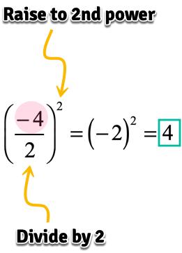 (-4/2)^2=(-2)^2=4
