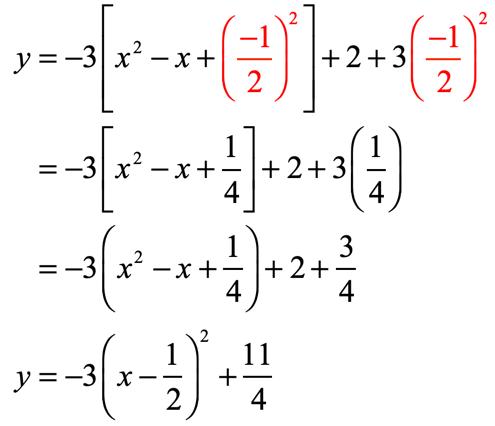 y=-3(x-1/2)^2+11/4