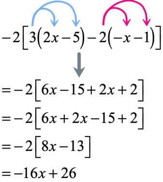 -2 = -2 = -2 = -2[8x-13] = -16x+26