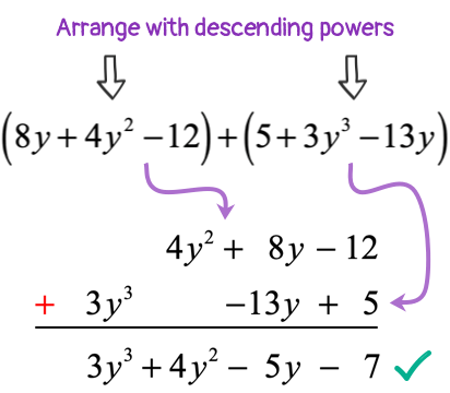 adding polynomials vertically