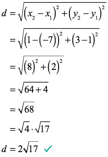 d = 2 sqrt(17)