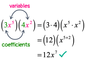 3x^5 times 4x^2 = 12x^7