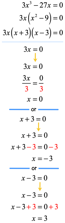 x is equal to 0 or x is equal to negative 3 or x is equal to 3