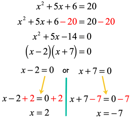x is equal to 2 and x is equal to negative 7