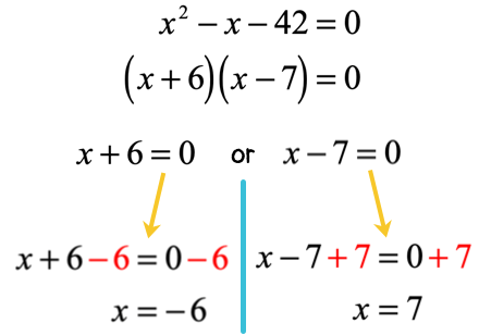 x is equal to negative 6 and x is equal to 7