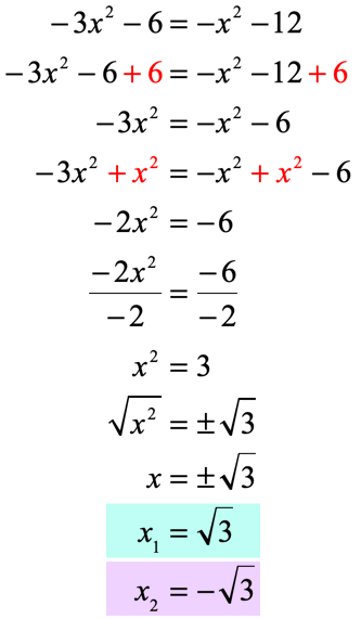 x sub 1 is equal to the square root of 3 and x sub 2 is equal to the negative square root of 3