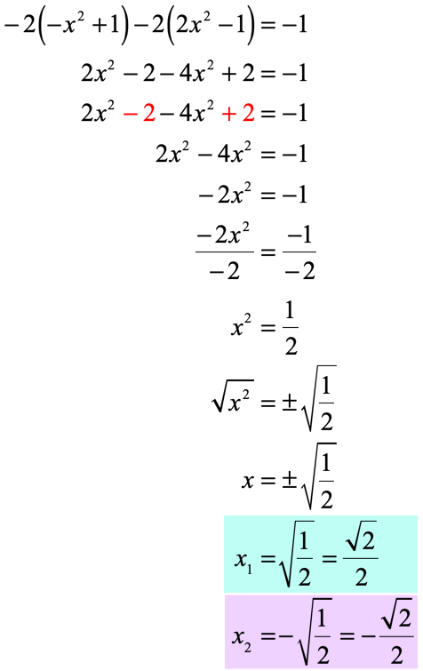 x sub 1 is equal to the square root of one half or square root of 2 over 2 while x sub 2 is equal to the negative  square root of one half or negative square root of 2 over 2