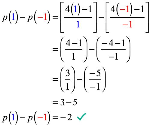 p(1) - p(-1) = { /(1) } - {  /(-1) } =  -  = 3-5 → p(1) - p(-1) = -2