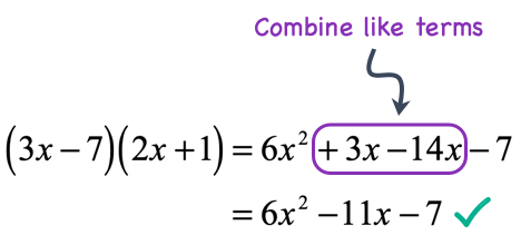 combine the like or similar terms in the middle which are 3x and -14x. (3x) plus negative (14x) is equal to -11x