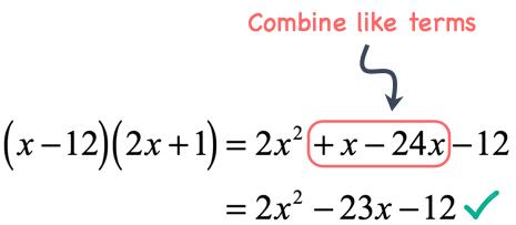 2x^2 minus 23x minus 12