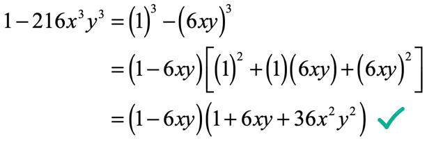 1-216x^3y^3=(1-6xy)(1+6xy+36x^2y^2)