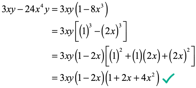 3xy-24x^4y=3xy(1-2x)(1+2x+4x^2)