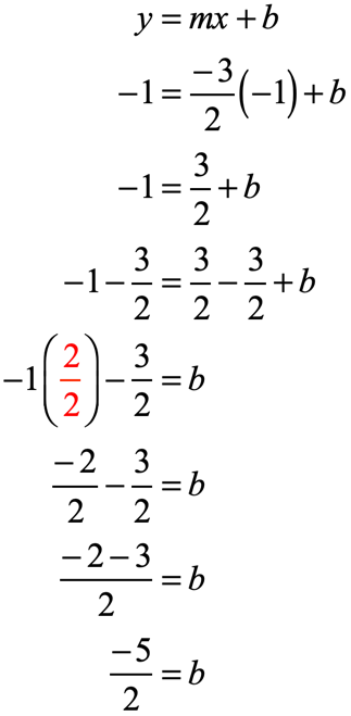 y=mx+b → -1=+b → -1 =(3/2)+b → (-2-3)/2=b therefore b=-5/2
