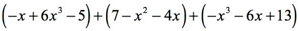 (-x+6x^3-5)+(7-x^2-4x)+(-x^3-6x+13)