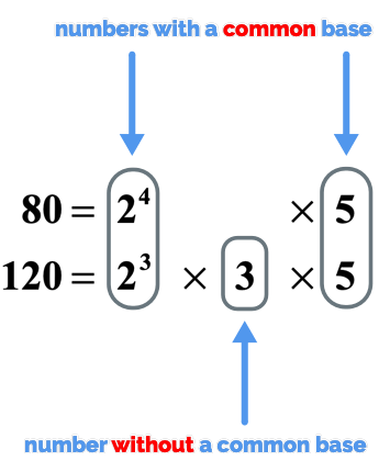 two raised to the fourth power and two cube has a common base of 2 while five and five both have a common base of five. Three is the number without a common base.