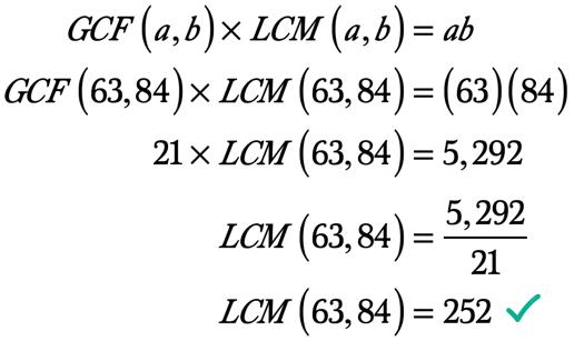 LCM(63,84) = 5,292/21 = 21