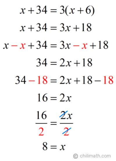 x+34=3(x+6) → x=8