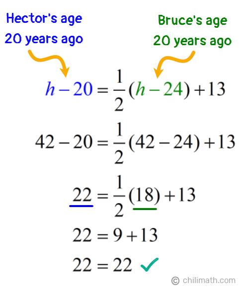 42-20=(1/2)(42-24)+13 → 22=(1/2)(18)+13 → 22=22