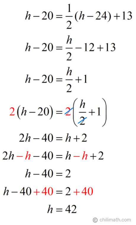 h-20=(1/2)(h-24)+13 → h=24