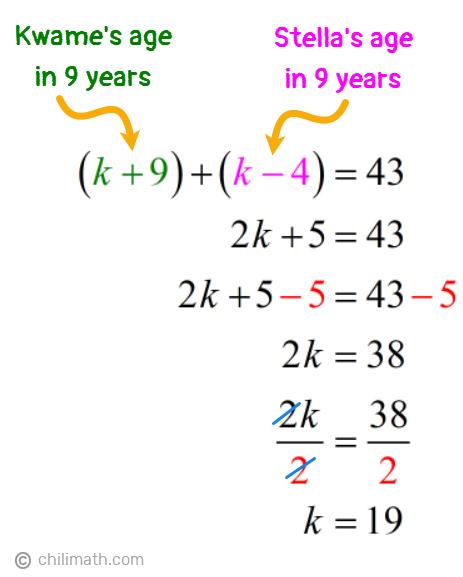 (k+9)+(k-4)=43 → k=19