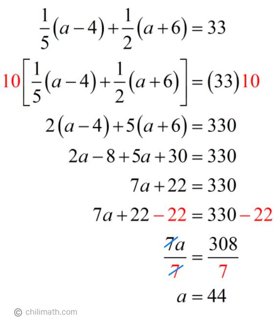 (1/5)(a-4)+(1/2)(a+6)=33 → a=44