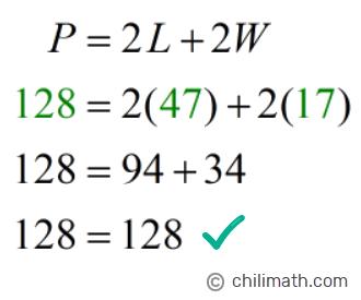 128 = 2(47)+2(17) → 128 = 128