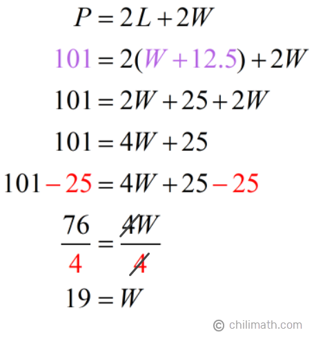 P = 2L+2W → 101 = 2(W+12.5)+2W → W = 19