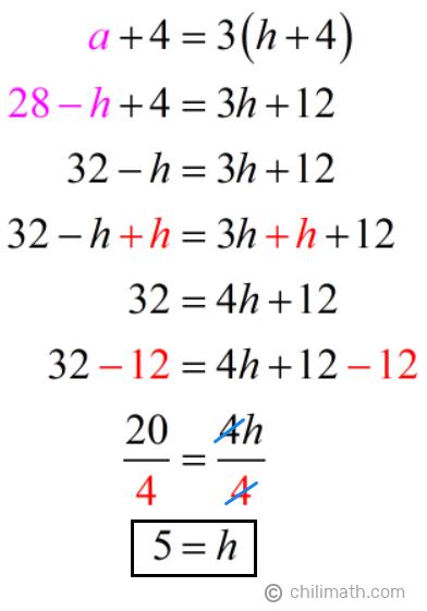 a+4=3(h+4) → 28-h+4=3h+12 → h=5