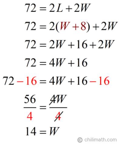 72=2L+2W → W=14