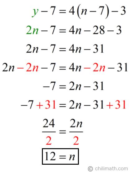 y-7=4(n-7)-3 → 2n-7=4n-28-3 → n=12