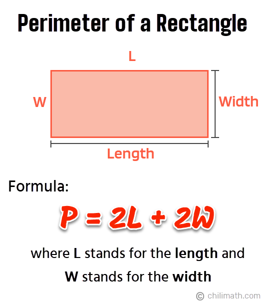 P=2L+2W, where L stands for the length and W stands for the width