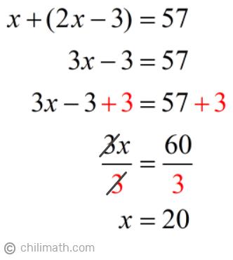 x+(2x-3)=57 → x=20