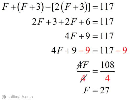 F+(F+3)+[2(F+3)]=117 → F=27