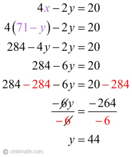 4x-2y=20 → 4(71-y)-2y=20 → y=44