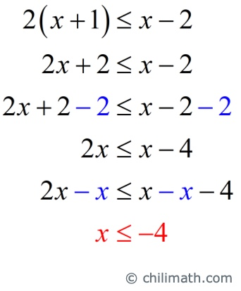 x is less than or equal to -4