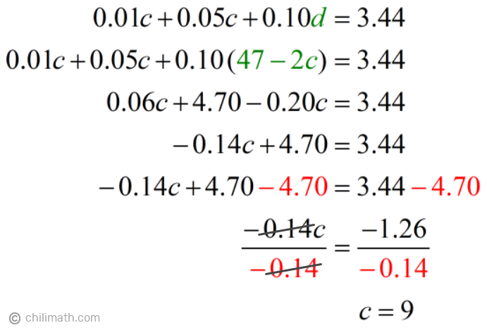 0.01c+0.05c+0.10(47-2c)=3.44 → c=9