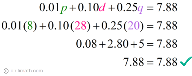 0.01(8)+0.10(28)+0.25(20)=7.88