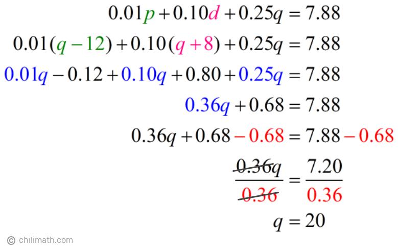 0.01(q-12)+0.10(q+8)+0.25q=7.88 → q=20