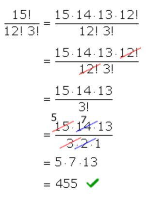 (15!)/(12!*3!)=5*7*13=455