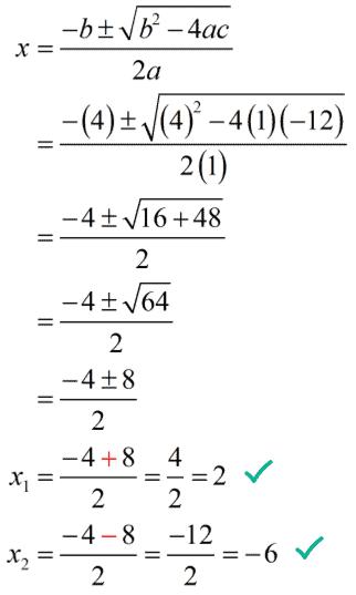 x sub 1 equals 2, x sub 2 equals -6