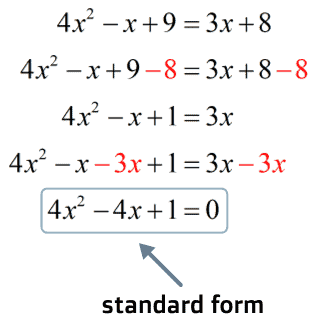 4x^2-4x+1=0 is in the standard form