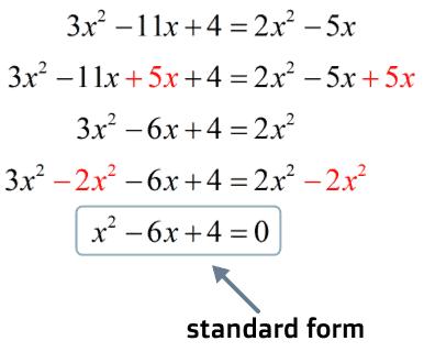 the standard form of a quadratic equation is x^2-6x+4=0