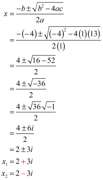 x sub 1 equals 2 - 3 i and x sub 2 equals 2 - + 3 i